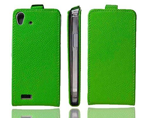 caseroxx Flip Cover & Bildschirmschutzfolie für Medion Life X5001, Set (Flip Cover in grün)