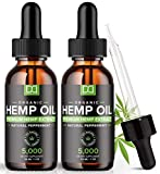 (2 Pack) 5000MG Hemp Oil for Pain Relief Anxiety Sleep Mood Stress 10000mg Total - Aceite de Cáñamo, l'huile de chanvre, Immune Support - Best Pure Natural Organic Hemp Seed Extract Tincture Drops