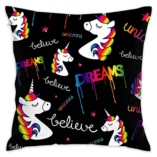 N/Q Dream Unicorn Black Bg Decorative Throw Pillow Cover Square Cushion Case for Home Sofa Bedroom Car Chair House Party Indoor Outdoor 18 X 18 Inch