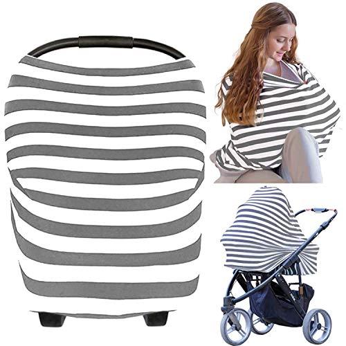 Stilltücher Stilltuch Stillschal Nursing Cover für Unterwegs - Atmungsaktive Himmel Warenkorb Swaddle Decke Pflegeabdeckung|360°Full Privacy Breastfeeding Protection (Grau Weiß)