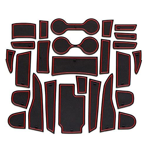 0beilita Alfombrilla Goma Antideslizante Coche para Chevrolet Colorado GMC Cañón 2015-2021 Alfombra Goma Posavasos Accesorios Interior para Consola Central, Rojo