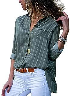KTHGSBM shirt Ladies Shirts Striped Tunic Plus Size Femme Women Blouses Floral Print Long Sleeve Turn Down Collar Blouse XXL Clear