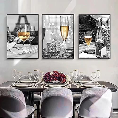 Cuadros de lona amarillos Champagne vino tinto y botellas impresiones y carteles de cocina arte de pared fotos decoración del hogar, 40 x 60 cm x 3 sin marco