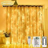Zorela Tenda Luminosa Natale, 3mx3m 300 LEDs Tenda di Luci, Alimentato da USB o batterie, ...