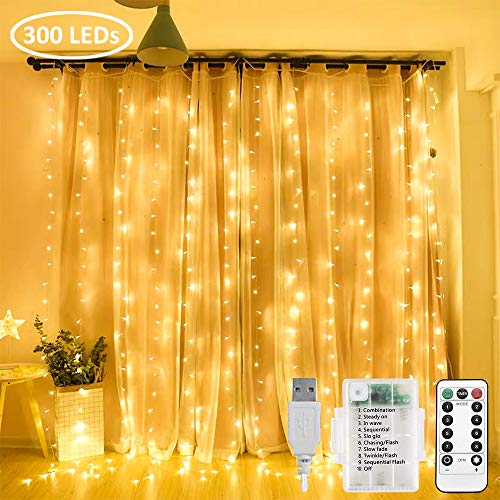 Zorela Curtain Fairy Lights, 3mx3m 300 LED Curtain...