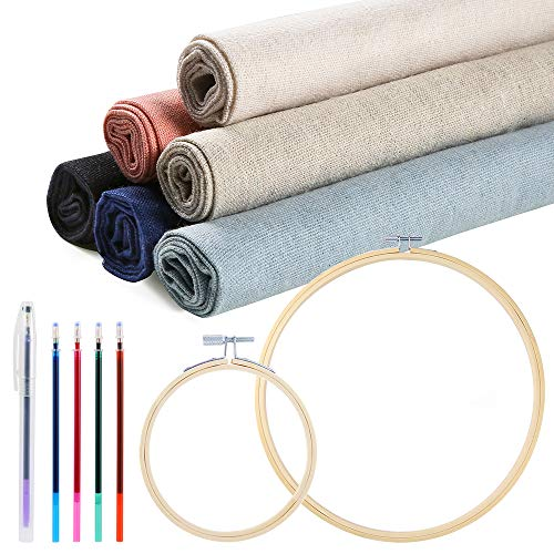 Caydo 14 Pieces 6 Colors Linen Needlework Fabric for Decoration Embroidery Project with Cross Stitch Hoop and Tools(19.6 by 19.6 Inch)