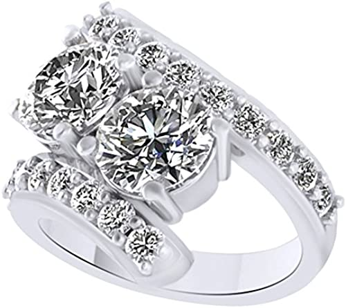 AFFY Weißn Zirkonia 1 ar-Ring in 18  verGoldet Sterling-Silber 4 tw