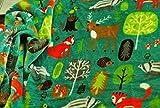 CRS Fur Fabrics Double Face Supersoft Cuddlesoft Tissu Polaire Matériau Woodland Animaux–Vert