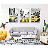 Living Equipment murales de pared Personalidad creativa simple de estilo europeo moderno 3 piezas Carrito de cebra en blanco y negro Marco de bicicleta amarillo urbano Patrón de espuma Pintura Mura