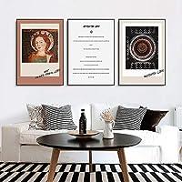 北欧のレトロな人物教会の壁の芸術キャンバスのポスター絵画プリント文学芸術部屋の写真ポストモダンな家の装飾60x90cm-3個フレームレス