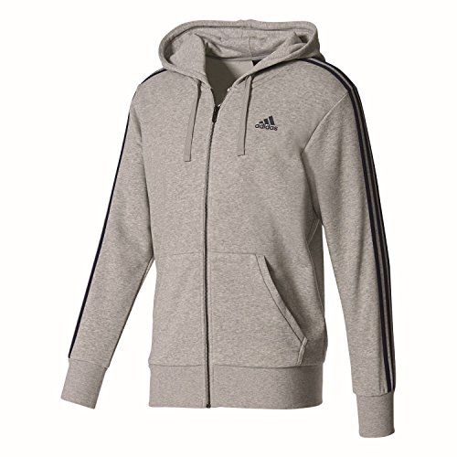 adidas Herren S98786 Essentials 3-Stripes Full Zip Kapuzenjacke, Grau (Medium Grey Heather/Collegiate Navy), M