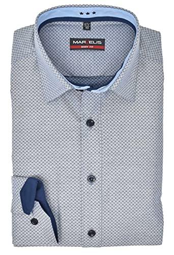 Marvelis Herren Businesshemd Body Fit Kent Kragen Extra Langer Arm 69cm Muster Blau, Größe:43