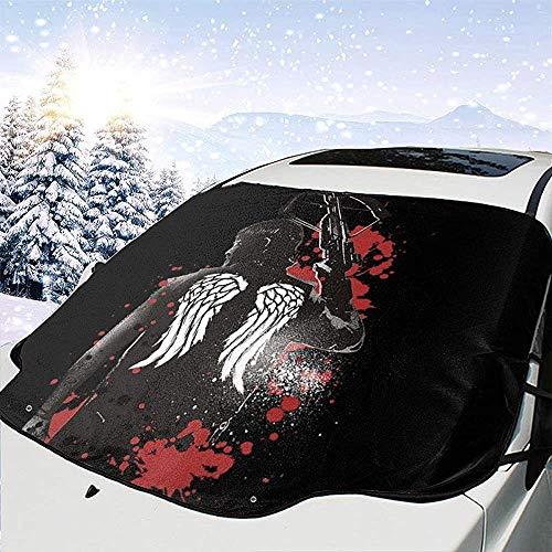 MaMartha Car Windshield Snow Cover Walkiiing Dead Daryl Dixon Wings und Armbrust Auto Windschutzscheibe Schneedecke,Eisentfernung Sonnenschutz,Fit für Universal Cars,147x118cm