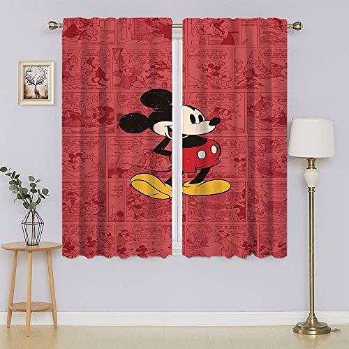 Mickey-Mouse - Cortinas opacas con bloqueo de calor y luz completa para mantener el calor y cortinas calientes para ventanas para dormitorio de 42 x 54 pulgadas