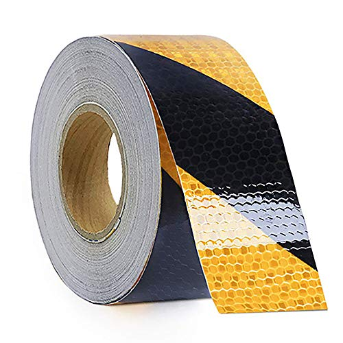 Waterproof Reflective Safety Tape Roll 2'X150' Yellow Black Striped Floor Marking Tape Hazard Caution Warning Tape Auto Truck Self-Adhesive Safety Sticker Strips for Wall Factory Trailer Vehicle