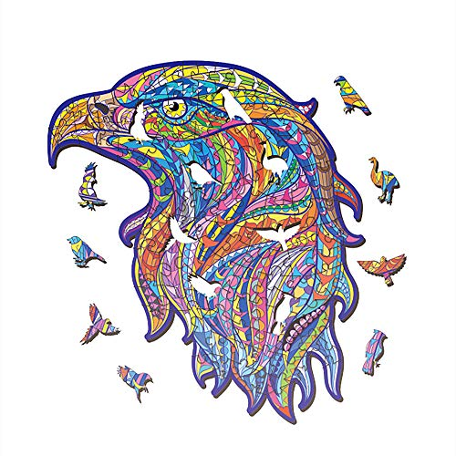 Wooden Jigsaw Puzzles, Unique Shape Jigsaw Pieces, Various Animals Pieces Table Puzzles Best Gift for Teens Boys Girls, Ornament (I Eagle Head, Small)