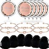 6 Paquetes Espejos de Maquillaje de Tribu de Novia Bolsillo Compacto y 6 Paquetes Pulseras de Nudo de Amor de Dama de Honor para Fiesta de Bachelorette Despedida de Soltera Regalos (Rosa Oro)