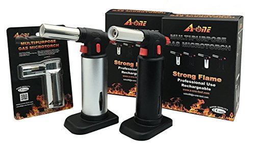 A-ONE 3PCS Pack-Professional Culinary Blow Torch-Micro Butane Torch-Creme Brulee Torch-Refillable Kitchen Food Torch-Multipurpose Cooking Torch-DIY Micro Torch-2 Pack with 1 Free Torch Lighter