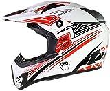 Qtech Casco Motocross Fuori Strada Enduro MX Viper - Nero, Ross, Arancione, Blu - Rosso - L (59-60...