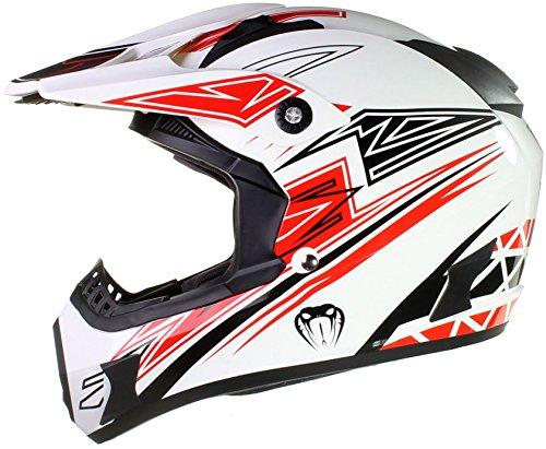 Qtech Viper Casco Protector para Motocross/Todoterreno/Enduro/MX - Negro/Rojo/Naranja/Azul - Rojo - XL (61-62 cm)