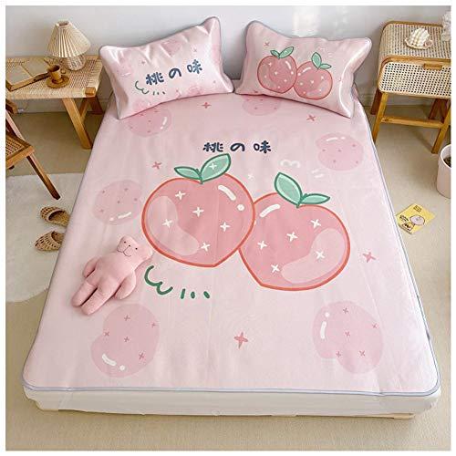 Amadon - Alfombra para el sueño refrescante de verano de seda de hielo con funda de almohada, colchoneta plegable para la impresión despertador, colcha para dormitorio doméstico