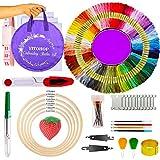 Cross Stitch Kits, Embroidery kit Including 5 PCS Embroidery Bamboo Hoops,100 Color Embroidery Floss Threads, 3 PCS Aida Cloth and 100pcs More Cross Stitch Tools Friendship Bracelet String Kit