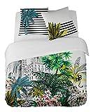 DORAN SOU Outlet Green Park - Soldes - Parure de lit pour 1 ou 2 Personnes : Housse de Couette 200x200 cm + Taies d'oreiller 65x65...