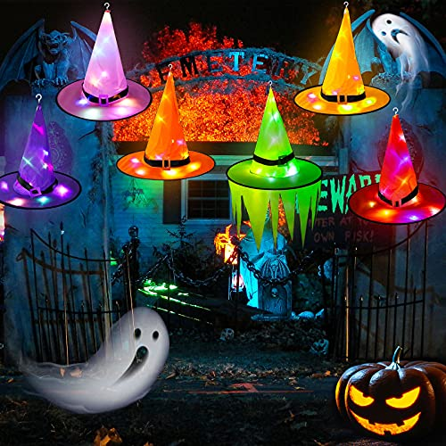 Halloween Decorations Witch Hat Led lights,6PCS Lighted Glowing Hanging witch Hat With Hook String Lights for Halloween Party Costume Tree Props Outdoor Indoor Garden Home Porches Yard Cosplay