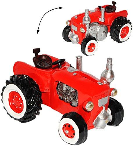 alles-meine.de GmbH Spardose -  Traktor / Oldtimer - ROT  - stabile Sparbüchse aus Kunstharz / Polyresin - Sparschwein - Traktoren - lustig witzig - Nostalgie / Bauernhof - Kin..