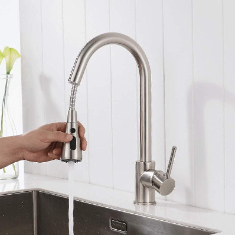 FUJUNJIE Single handle kitchen faucet mixer pull out kitchen faucet single hole faucet hot and cold water faucet