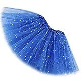 Reciy Sparkle - Falda de tul para niña, tutú de capas, diseño de princesa, para bailar ballet, talla 2-8 años azul cobalto Talla única