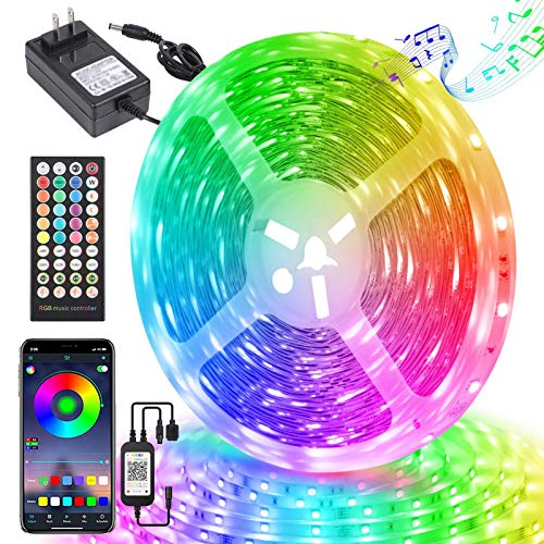 LED Strip Lights 65.6ft, Ultra Long Bluetooth RGB Strip Light with APP Remote Control, 5050 Color Changing LED Strips with Music Sync, LED Lights Strip for Bedroom Party Home Bar Decoration (1x65.6ft)