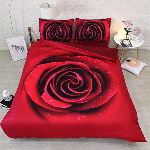 KTBDWOSA Funda De Edredón con 3D, Rosa Roja 150X200 Cm Uego De Ropa De Cama Fácil De Cuidar con Cremallera -Dormir Confort -Cama Individual Y Cama Doble
