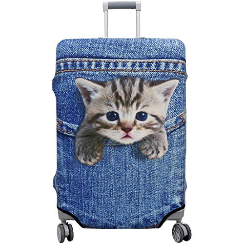TAPE FIVE Washable Travel Luggage Cover Thickened Luggage Cover 18/24/28/32 Inch Suitcase Spandex Protective Cover (S(18'-20'luggage), Pocket Cat)