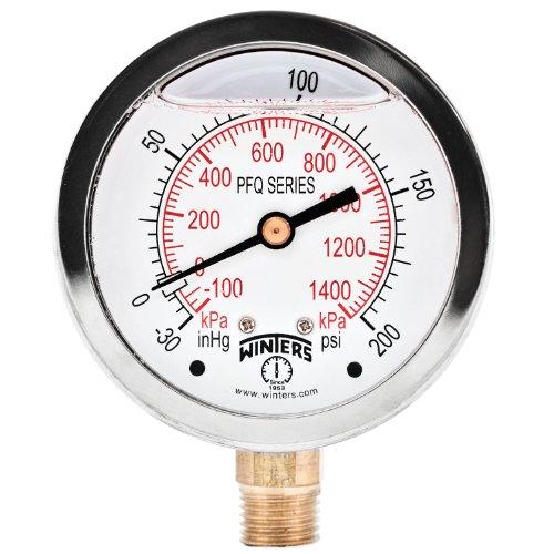 겨울 PFQ 시리즈 스테인레스 스틸 304 듀얼 스케일 액체 채워진 압력 게이지 황동 내부 30 HG 진공 -0-200 PSI | KPA 2-1 | 2 다이얼 디스플레이 + | - 1.5 % 정확도 1 | 4 NPT 바닥 마운트