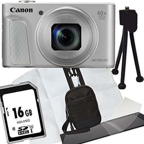1A Photo PORST Jubiläumsangebot Canon Powershot SX730 HS Silber Digitalkamera+SD 16 GB Speicherkarte+Tasche+Display-Schutzfolie+Mini Stativ+Mikrofasertuch