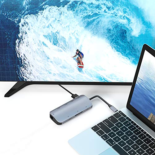 ABLEWE USB C Hub 8 in 1 Typ C Hub Adapter mit 4K HDMI,87W PD Ladeanschluss,SD/TF Kartenleser,3 USB 3.0 Ports,RJ45 Gigabit Ethernet-Port,Type C-Hub für MacBook,MacBook Pro Air,Chromebook,Huawei usw.