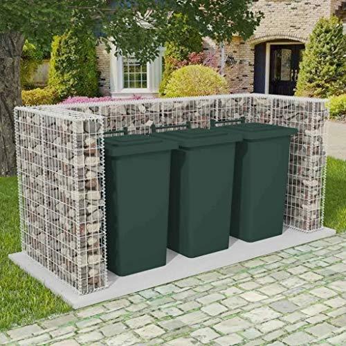 UnfadeMemory Gabionen-Mülltonnenverkleidung Stahl Mülltonnenbox Mülltonnenabdeckung Verzinkter Stahldraht Stabil Dekorativ für Garten Mülltonne (250x100x120cm, für 3 Tonnen)