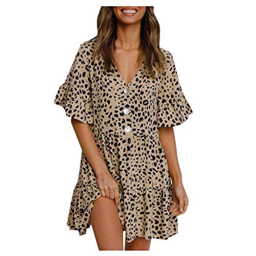 Damen Kurzarm Strandkleid, Sommerkleid Bohemian V-Ausschnitt Und Bedrucktem Taillenkleid Freizeitkleid Gemustert Partykleider Swing Dress