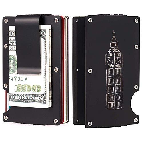 Ybzx Titulares de Tarjetas de crédito para Hombres Cartera Minimalista Caes para Hombres Grabado Pintado a Mano Reino Unido Big Ben Patrón Regalo Clip para Dinero Bloqueo RFID Tamaño pequeño Cart