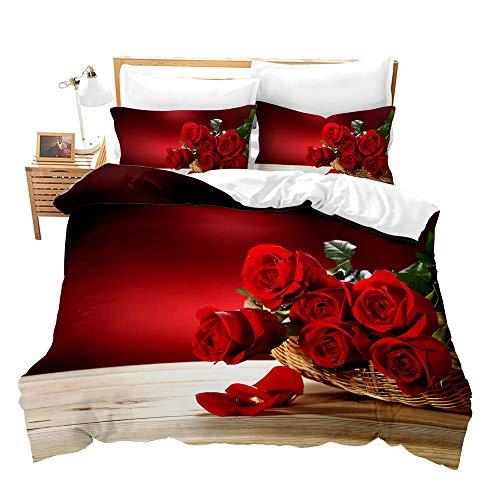 Fansu Bettwäsche Set Mikrofaser Schlafzimmer Bettwäsche-Set, Rose Blumen Drucken 3D Bequemer Kissenbezug Bettbezug mit Reißverschluss Schließung (200x200cm,Rote Rose)