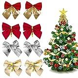 BONHHC 96 lazos de Navidad para decoración de árbol de Navidad, color rojo, dorado y plateado