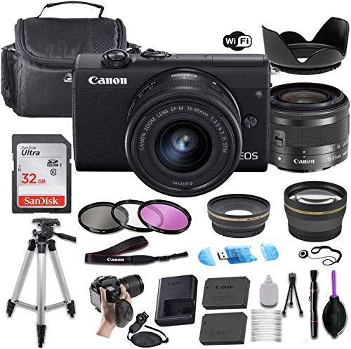 Canon EOS M200 Mirrorless Digital Camera (Black) w/EF-M 15-45mm f/3.5-6.3 is STM + Wide-Angle and Telephoto Lenses + Portable Tripod + Memory Card + Commander Optics Deluxe Accessory Bundle