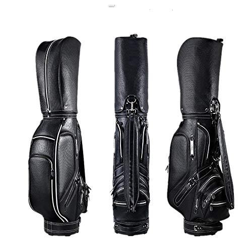 Hhjkl Golftrolley für Damen und Herren, Leder, wasserdicht, Golftasche, leicht, Golftasche, Schwarz, 126x25x45cm