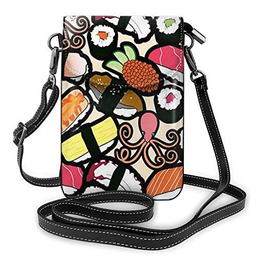 Pulpo Sushi Bolso pequeño para teléfono celular, cuero premium ligero, bolso bandolera ajustable para mujeres y niñas