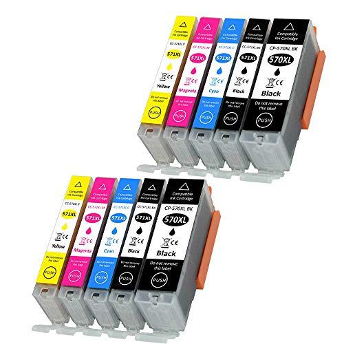 Teland 10 PGI-570XL CLI-571XL - Cartuchos de tinta compatibles con Canon 570 571 XL para Canon Pixma MG5750 TS5050 MG5751 MG5752 MG5753 MG6850 MG6851 MG6852 MG6853 TS5051 TS5053 TS5055 TS6050