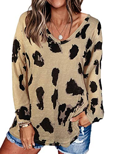 MAYFASEY Women's Casual V Neck Long Sleeves Leopard Print Loose Fit Tunic Top Baggy Comfy Blouse Pullovers Khaki XXL