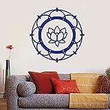 zhuziji Lotus Mandala Yoga Thema Vinyl Wandtattoo Buddhismus Meditation Schlafzimmer Aufkleber Wandbild Wanddekoration Tapete Kunst Decal63x63cm