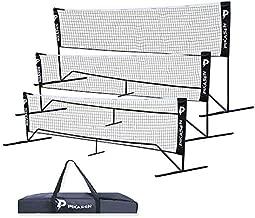 PIKASEN Portable Badminton Net Set - for Tennis, Soccer Tennis, Pickleball, Kids Volleyball - Easy Setup Nylon Sports Net with Poles (20)