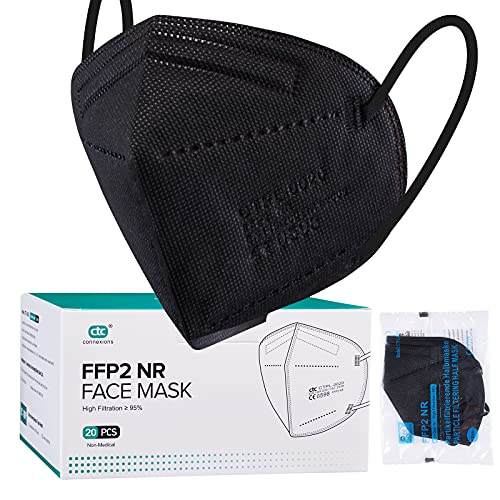 FFP2 Face Masks Black , 20Pcs Kn95/FFp2 5-Layer Protective Face Mask CE...